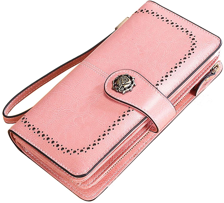 Women's RFID Blocking Leather Wallet Large Phone Holder Clutch Travel Purse Wristlet