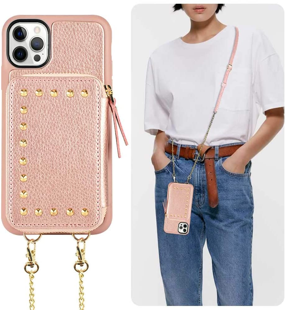 ZVE Wallet Case Compatible for iPhone 12/iPhone 12 Pro Case with Card Holder Slot Crossbody Chain Wrist Strap Zipper Leather Case for iPhone 12/12 Pro, 6.1 inch - Rose Gold