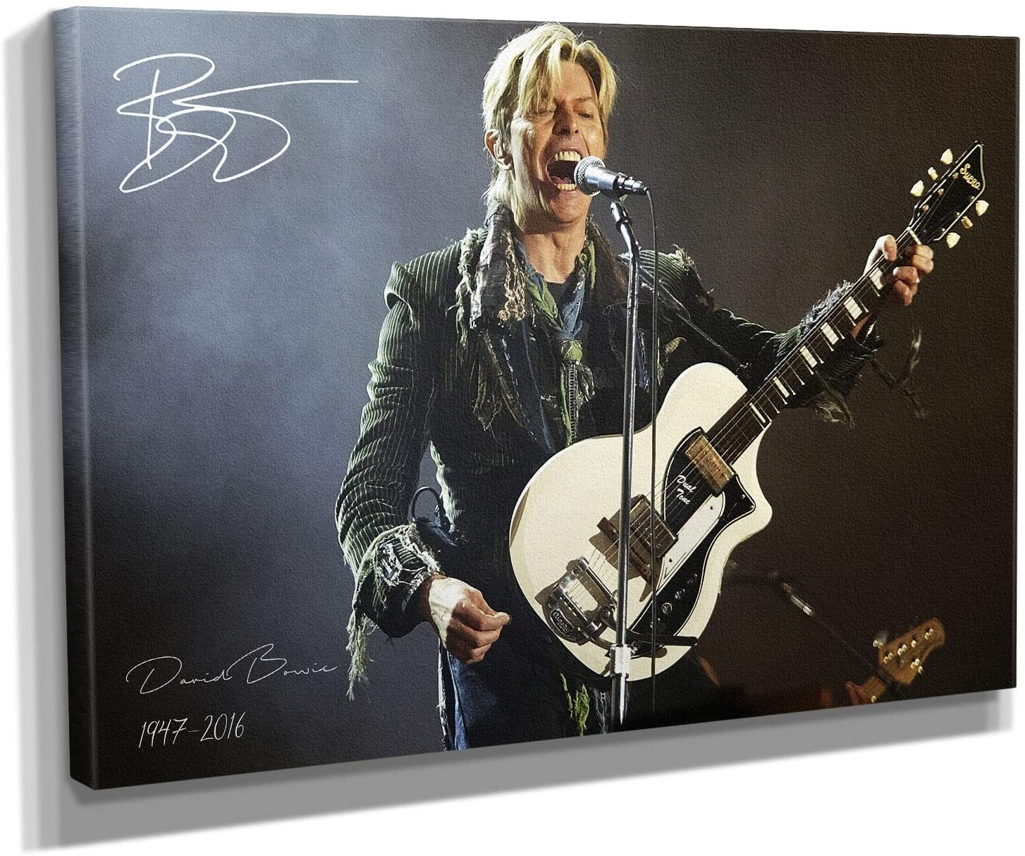 David Bowie Guitar Signature Canvas Art Wall Art Home Decor (36in x 24in Gallery Wrapped)
