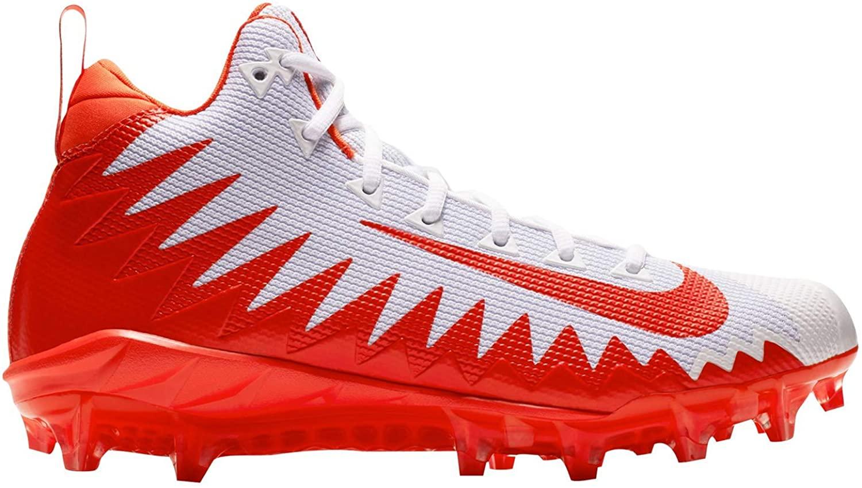 Nike Alpha Menace Pro Mid Mens Football Cleats (10, White/Rush Orange)