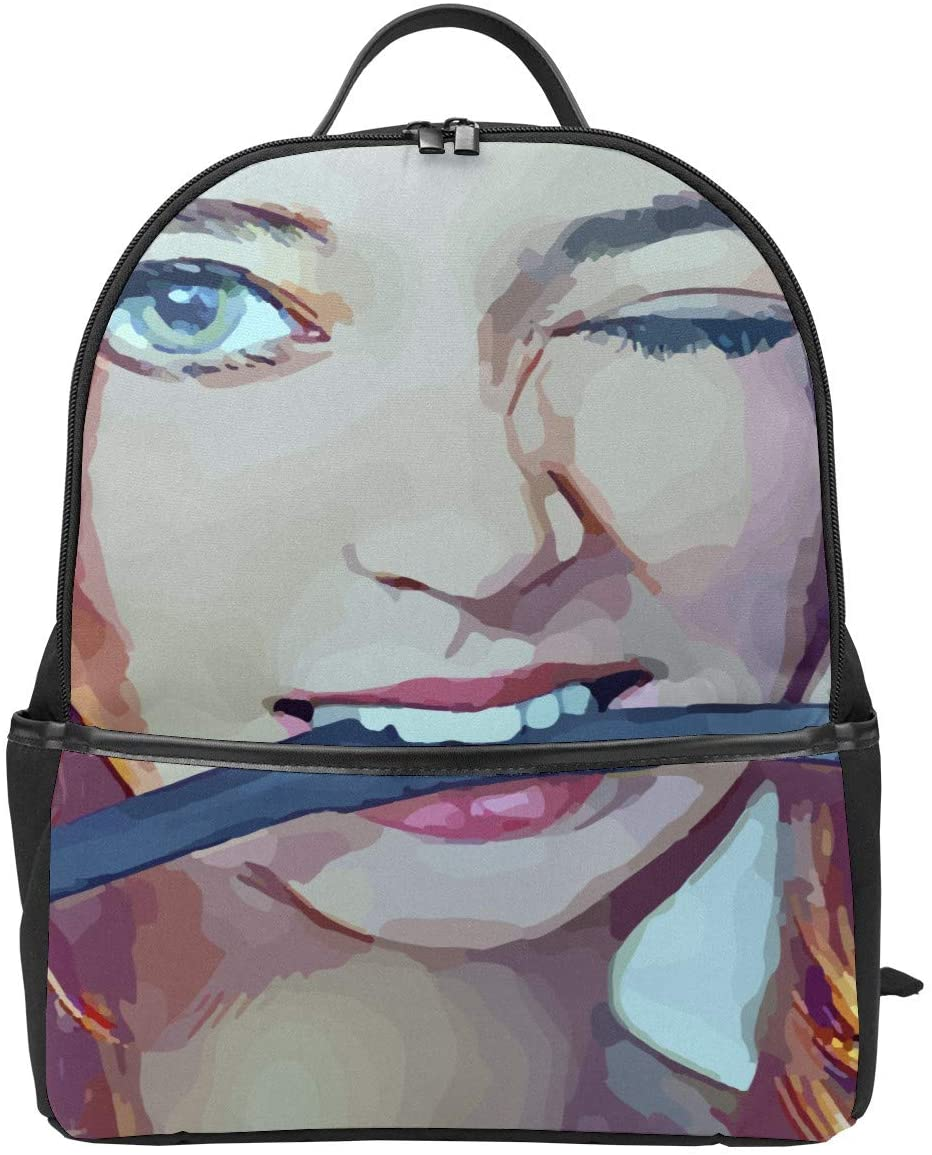 Sexy Flirting Women Leather School Backpack Bookbags with Adjustable Straps, Large Capacity and Waterproof Travel Bag, Stylish Design Backpack for Women, Men, Students