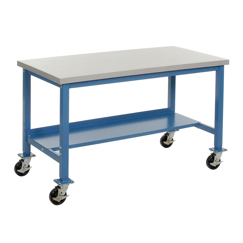 Mobile Production Workbench, Plastic Laminate Square Edge, 48