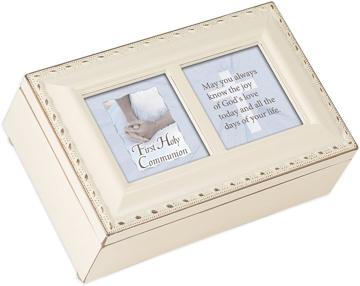 Cottage Garden First Holy Communion Know The Joy Matte Ivory Jewelry Music Box Plays Ave Maria