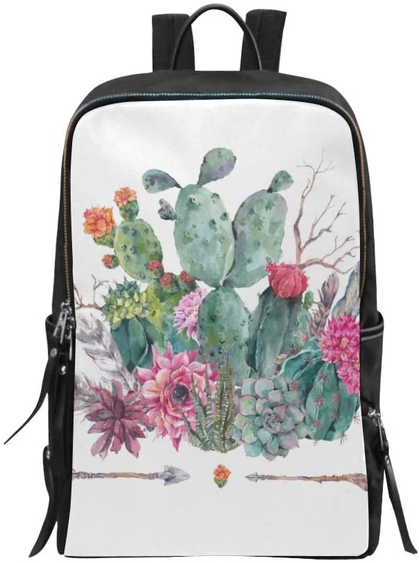 Bag Backpack Boho Watercolor Cactus Flowers Feathers and Arrows Daypack