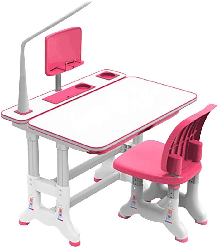 Children Desk, Children Study Table, Height Adjustable Kids Desk and Chair Set, Childs Desk W/Lamp, Students Writing Desk Tilt Desktop Storage Drawer Bookstand for Boys&Girls (Pink, 27.5x19.3in)