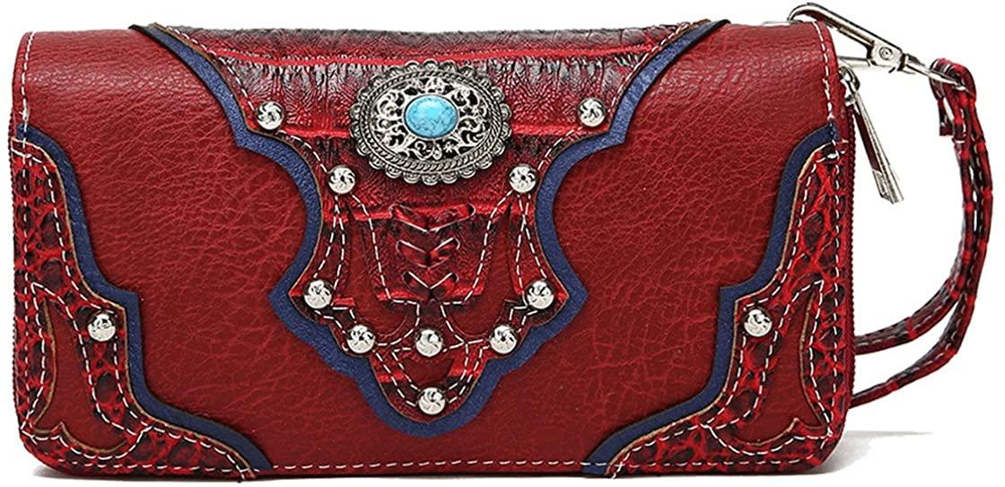 Conchos Studded Crocodile Laser Cut Cowgirl Western Purse Women Wristlet Wallet