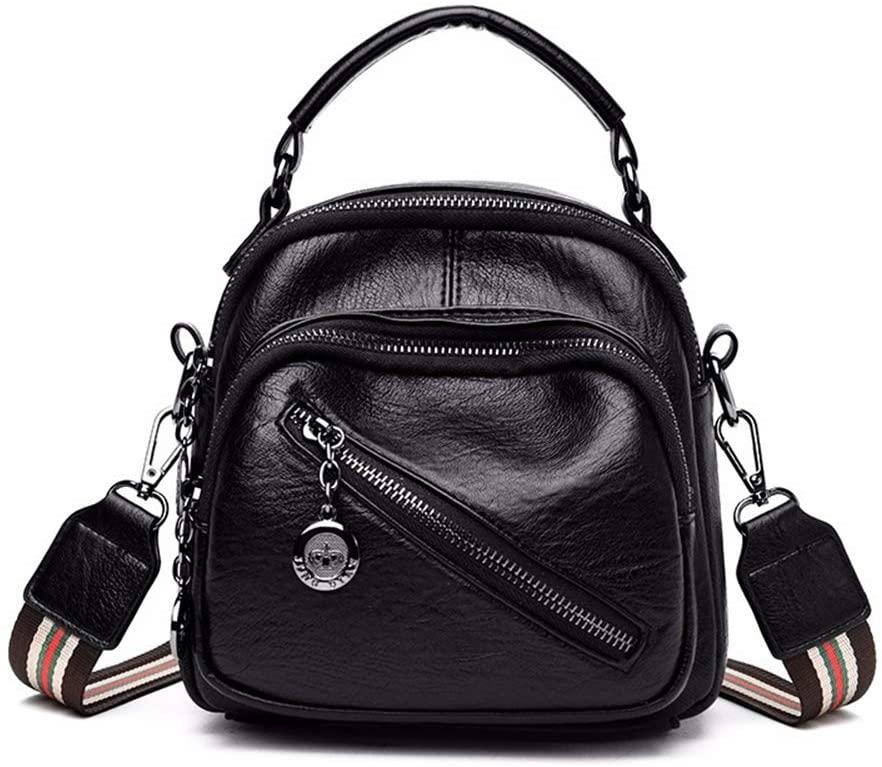 Vegan leather mini backpack cute convertible small shoulder bag for girls women (Black)
