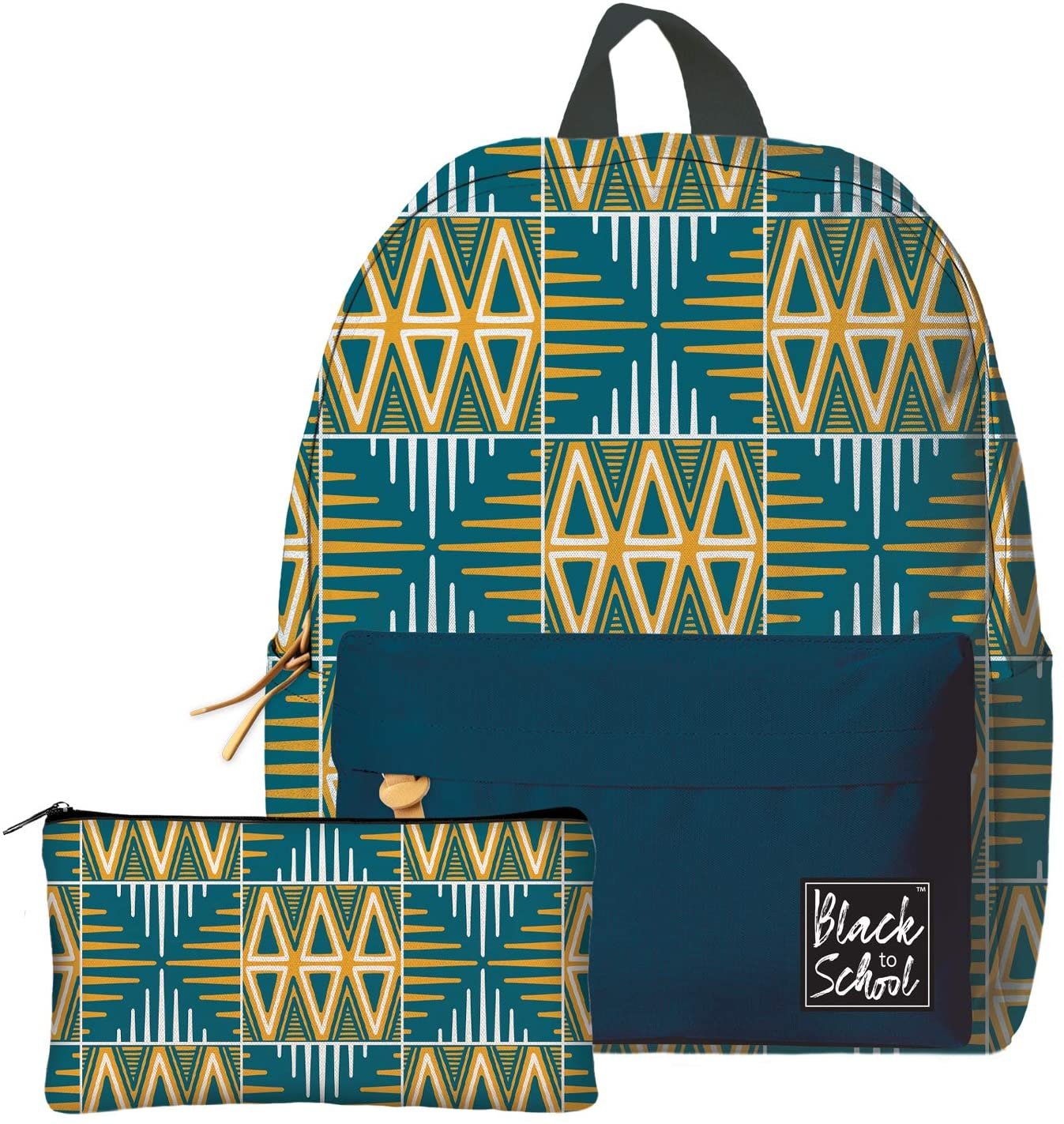 African American Expressions Backpack - Fits 15 Laptops and Tablets - 2 Pouch Lightweight Bookbag for Students, Travel, School, and Work - Blue and Yellow Mudcloth