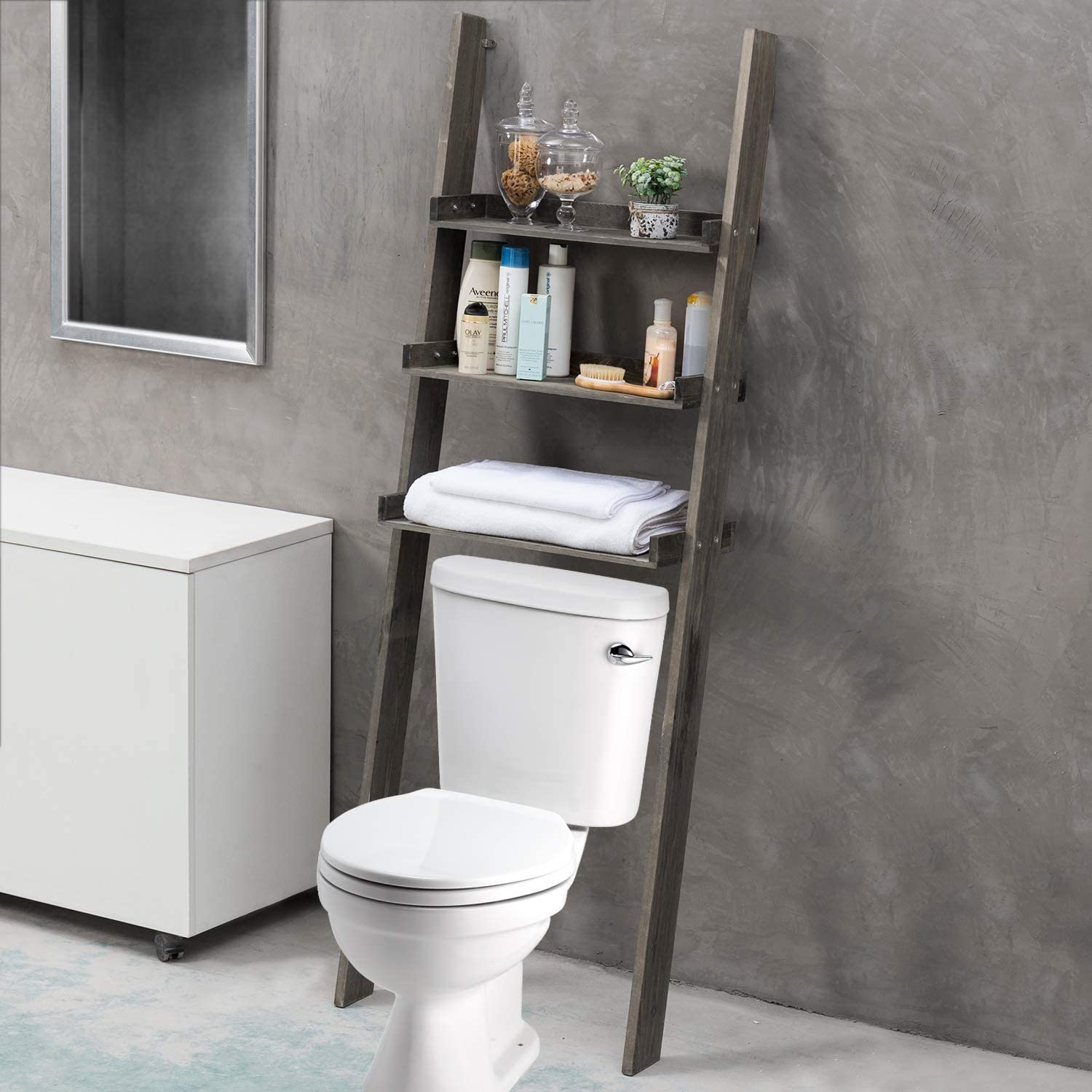 MyGift 3-Tier Gray Wood Over-The-Toilet Leaning Bathroom Ladder Shelf