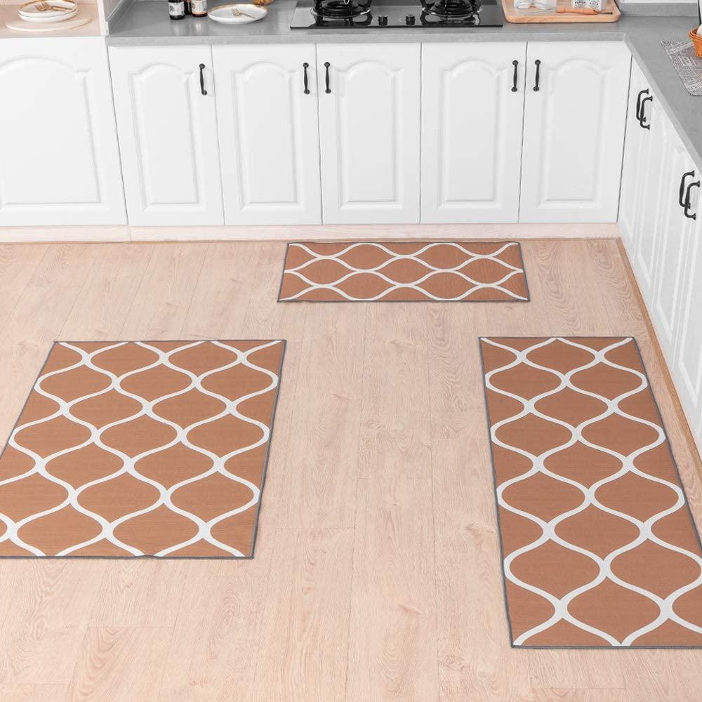 Carvapet 3 Pieces Moroccan Trellis Non-Slip Kitchen Rug Set Throw Rugs Doormat Runner Carpet Set for Entryway, Coffee