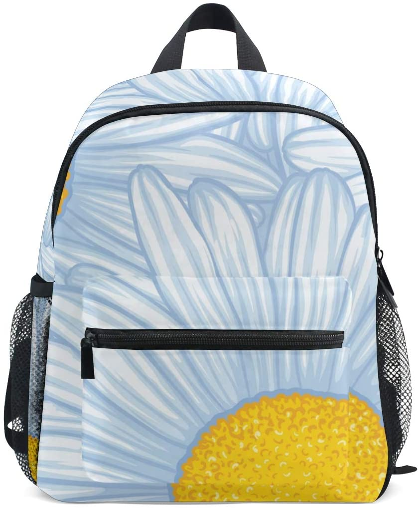 Kids Backpack White Diasy for Toddler Boy Girls Age 2-7