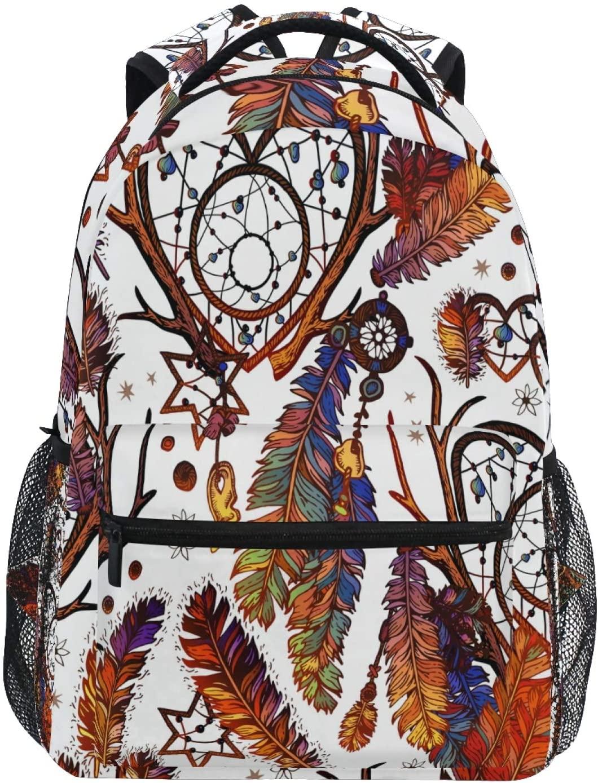 Ombra Backpack Dream Catcher Ethnic Tribal Feathers Boho School Shoulder Bag Large Waterproof Durable Bookbag Laptop Daypack for Students Kids Teens Girls Boys Elementary