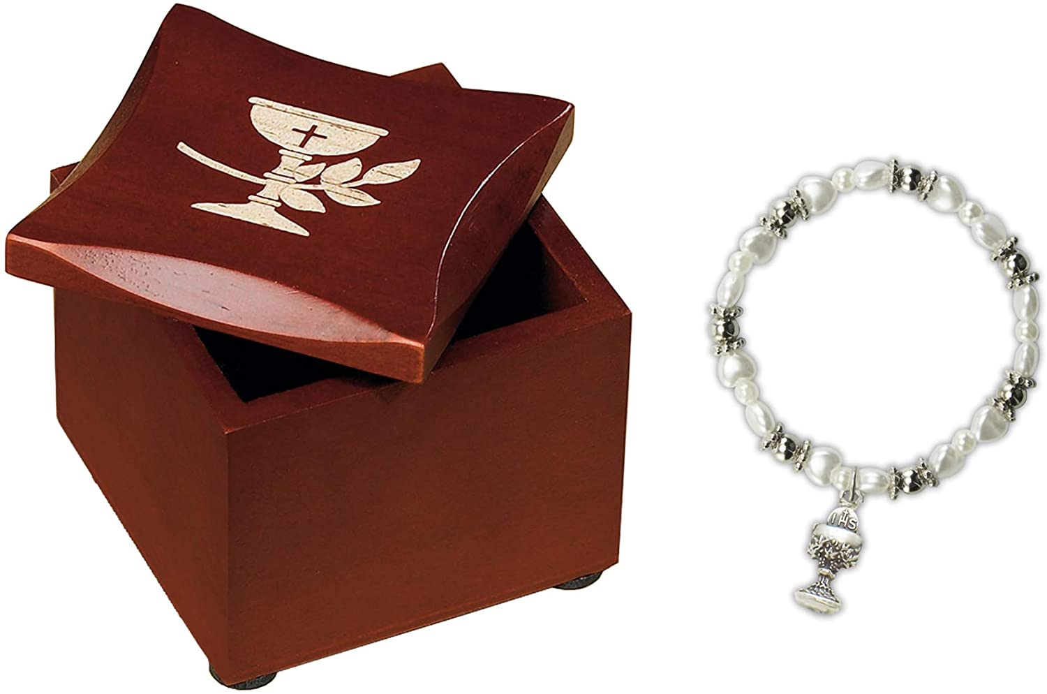 Cross Chalice Cherry Brown and Silver 3 x 2 Wood Decorative Box and Bracelet