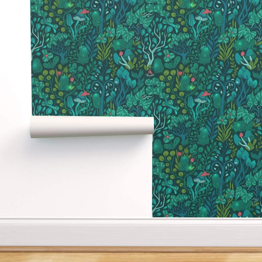 Spoonflower Peel and Stick Removable Wallpaper, Mystical Forest Magical Emerald Fairy Woodland Print, Self-Adhesive Wallpaper 12in x 24in Test Swatch