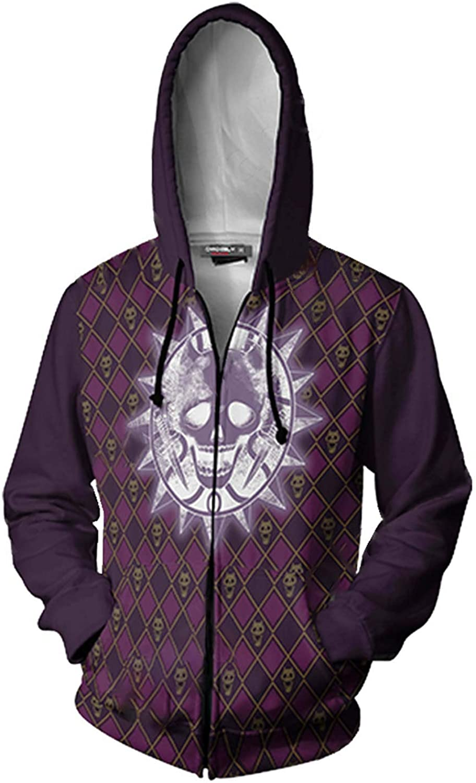 JoJos Bizarre Adventure Jotaro Kujo Hooded Sweater 3D Printed Kujo Jotaro Zipper Coat Jacket Hoodie (5XL, Purple)