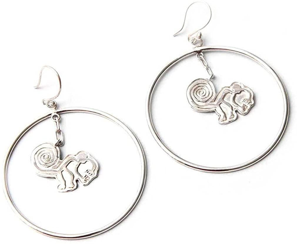 NOVICA .950 Sterling Silver Dangle Earrings, Playful Nazca Monkey'
