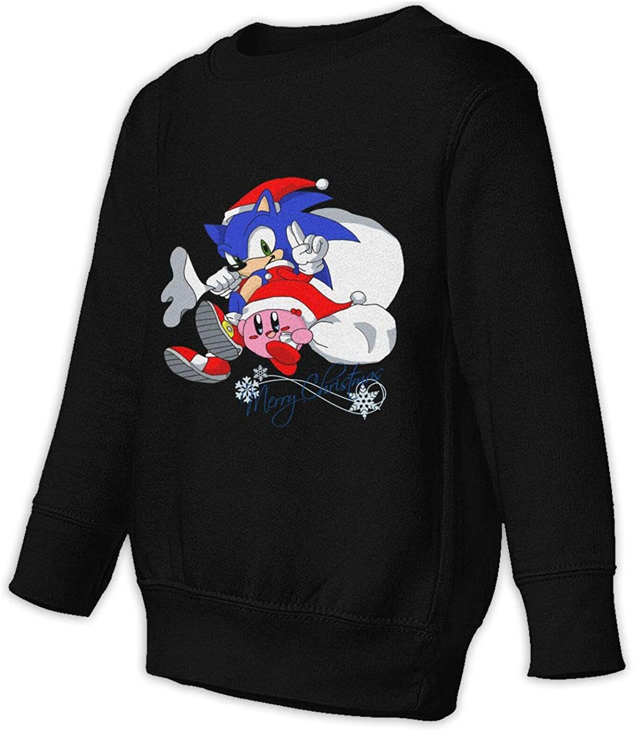 Sonic and Kirby Merry Christmas Child Crew Neck Pullover Long Sleeve Sweater Hoodies Pullovers Sweatshirts Boys and Girl