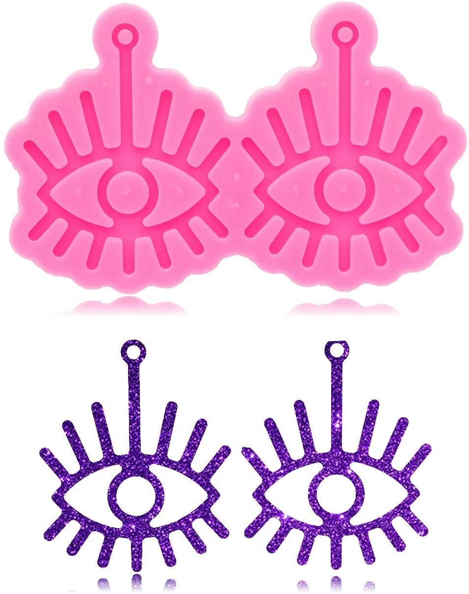 Eyes Shape Earring Keychain Silicone Mold with Hole for DIY Earrings Crystal Cake Decoration Jelly Shots Pendant Candy Trinket Desserts Fondant Mold Pudding Luggage Tag Gum Paste