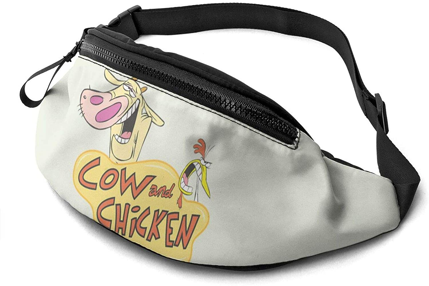 ATSH Cow and Chicken Waist Bag Water Resistant Large Hiking Fanny Pack Running Walking Traveling