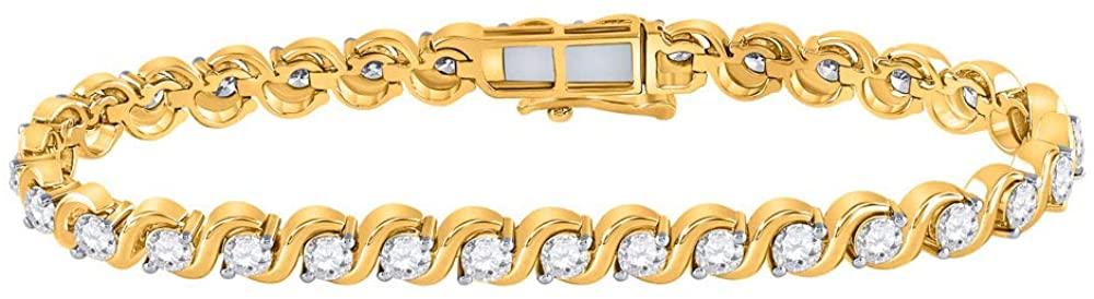 Watch Boutique 14kt Yellow Gold Womens Round Diamond Tennis Bracelet 5 Cttw