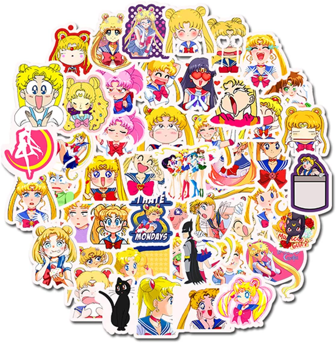 Sailor Moon Anime Girl Stickers Laptop Stickers Skateboard Snowboard Car Bicycle Luggage Decal 50pcs Pack