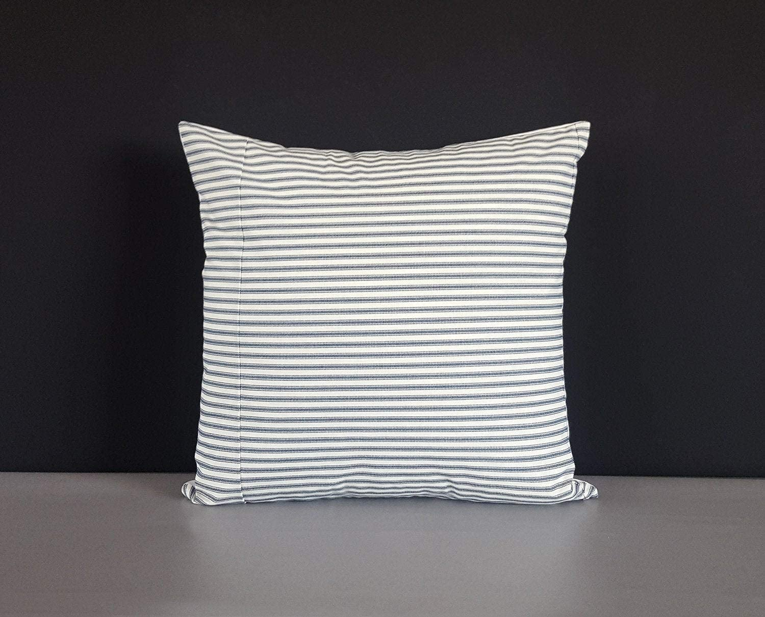 Encounter168 Ticking Stripe Navy Cushion Cover 18x18