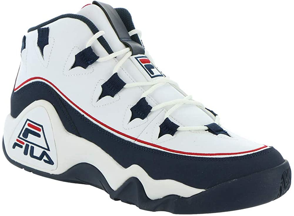 Fila Grand Hill 1 Offset Sneakers Mens, White/Navy/RED, 10