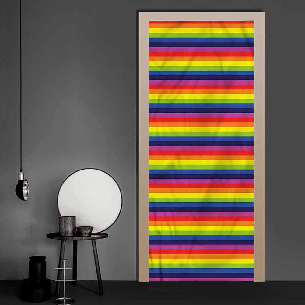 Door Wallpaper Rainbow, Horizontal Stripes Pattern Full Door Cover Refrigerator Stickers for Home Office Decoration 17.1 x 78.7 Inch