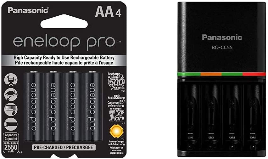 Panasonic BK-3HCCA4BA eneloop pro AA High Capacity Ni-MH Pre-Charged Rechargeable Batteries, 4 Pack, Black & BQ-CC55KSBHA Advanced eneloop pro Rechargeable Battery 4 Hour Quick Charger, Black
