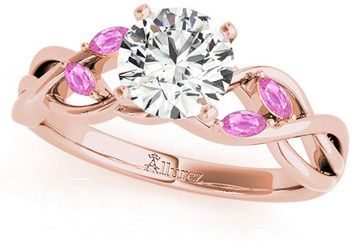 Twisted Round Pink Sapphires Engagement Ring 14k Rose Gold (1.50ct)