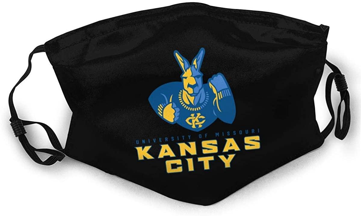 BOKUTT Reusable Face Mask University of Missouri Kansas City Adult Double-Sided Printing Dust Mask Black
