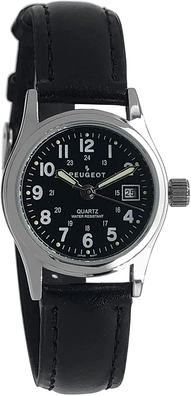 Peugeot Women's Sport Calendar Watch for Nurses - Easy Reader with Luminous Hands, Water Resistant with Black Dial and Leather Strap