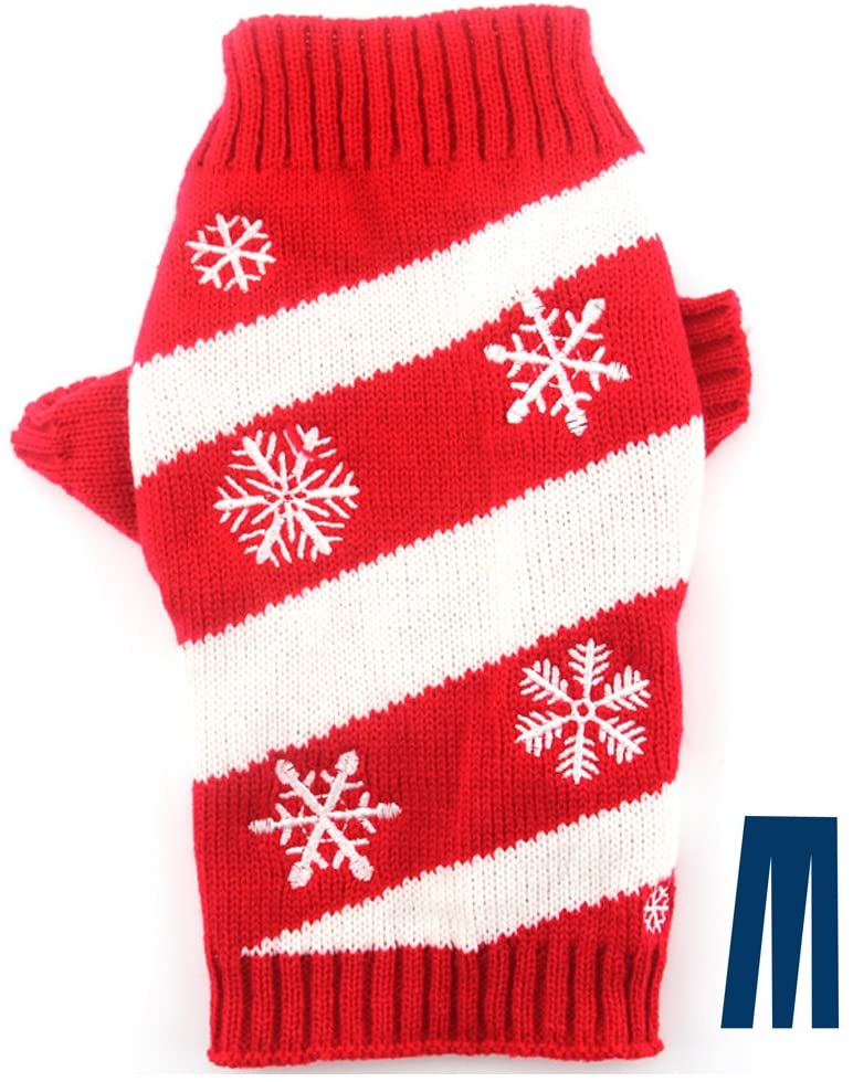 Mikayoo Dog Christmas Sweater, Pet Xmas Sweater, Cat Holiday Sweater, Snow and Red/White Oblique Stripes Design Cold Weather Coat, Holiday Festive Sweater for Small Dogs or Cats