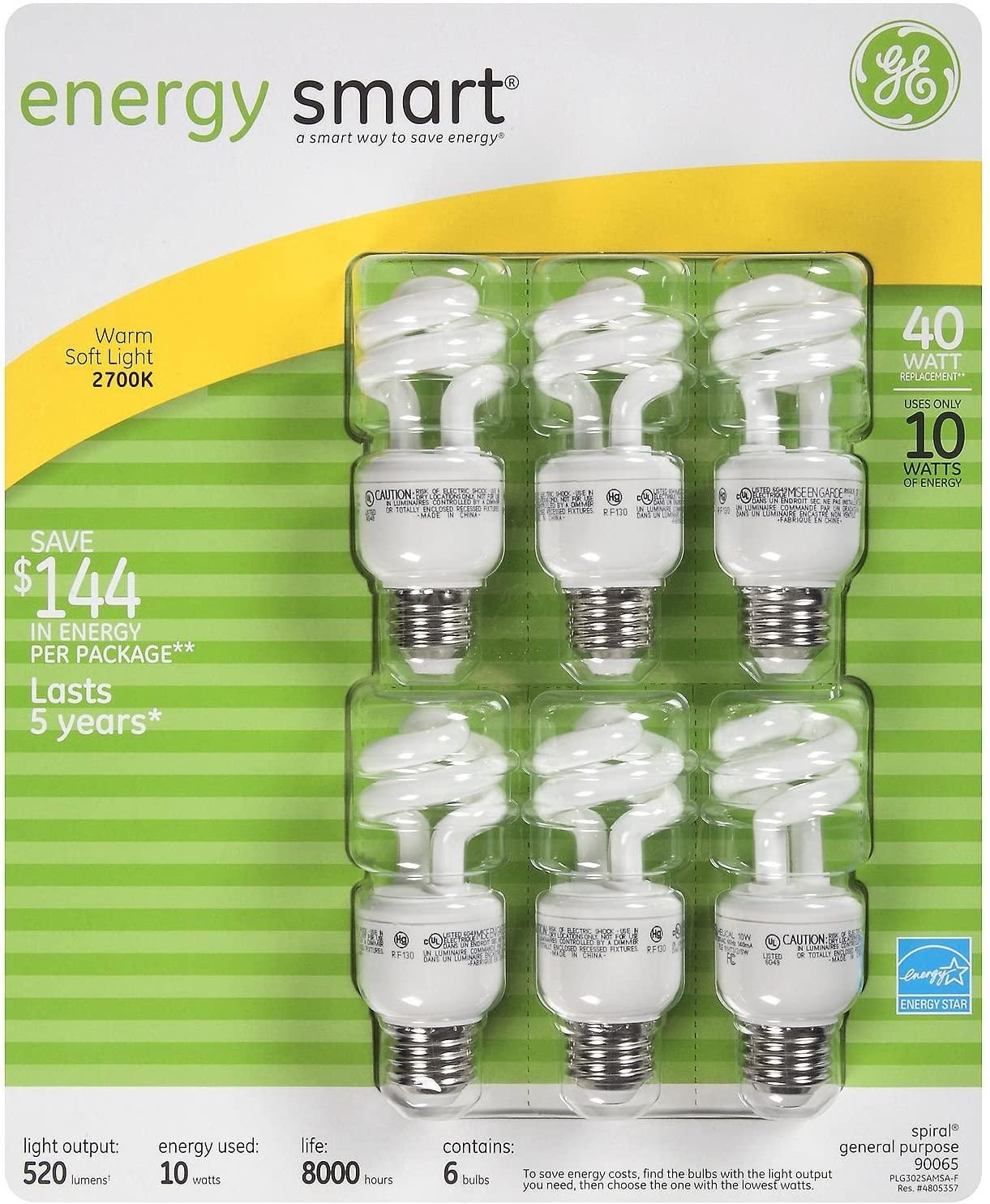 6-Pack GE Compact Flourescent (CFL) Light Bulbs 10 Watt = 40 Watt Equivalent