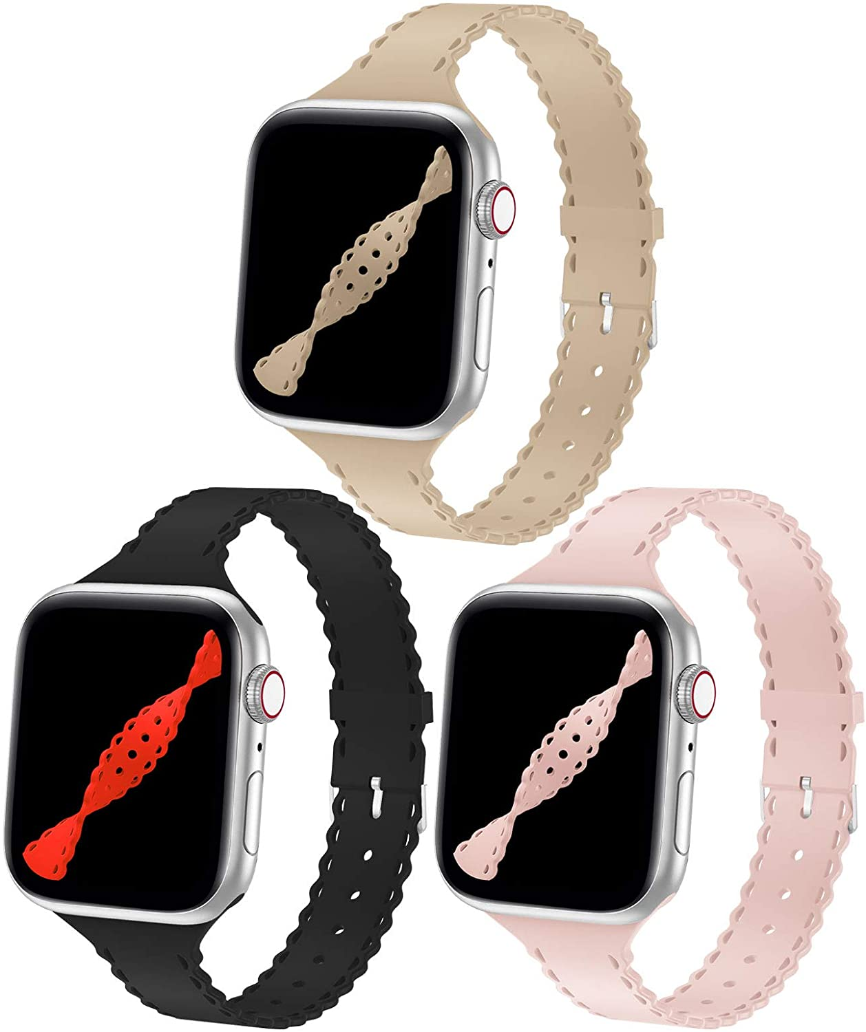 YAXIN 3 Pack Watch Bands Compatible with Apple Watch Band 38mm 40mm Women Series 3 Narrow Slim iWatch Bands Sport Soft Silicone Thin Wristband Strap Compatible for iWatch Series 6 5 4 2 1 SE