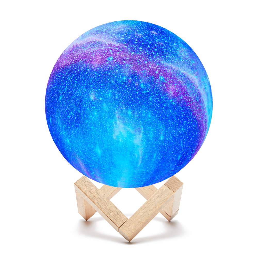 Upgrade Timing Star Moon Lamp, PREKIAR 16 Colors 15cm LED 3D Print Moon Light with Stand & Remote & Touch Control and USB Rechargeable, Bedrooms Bedside Night Lights for Kids Birthday Party Gifts