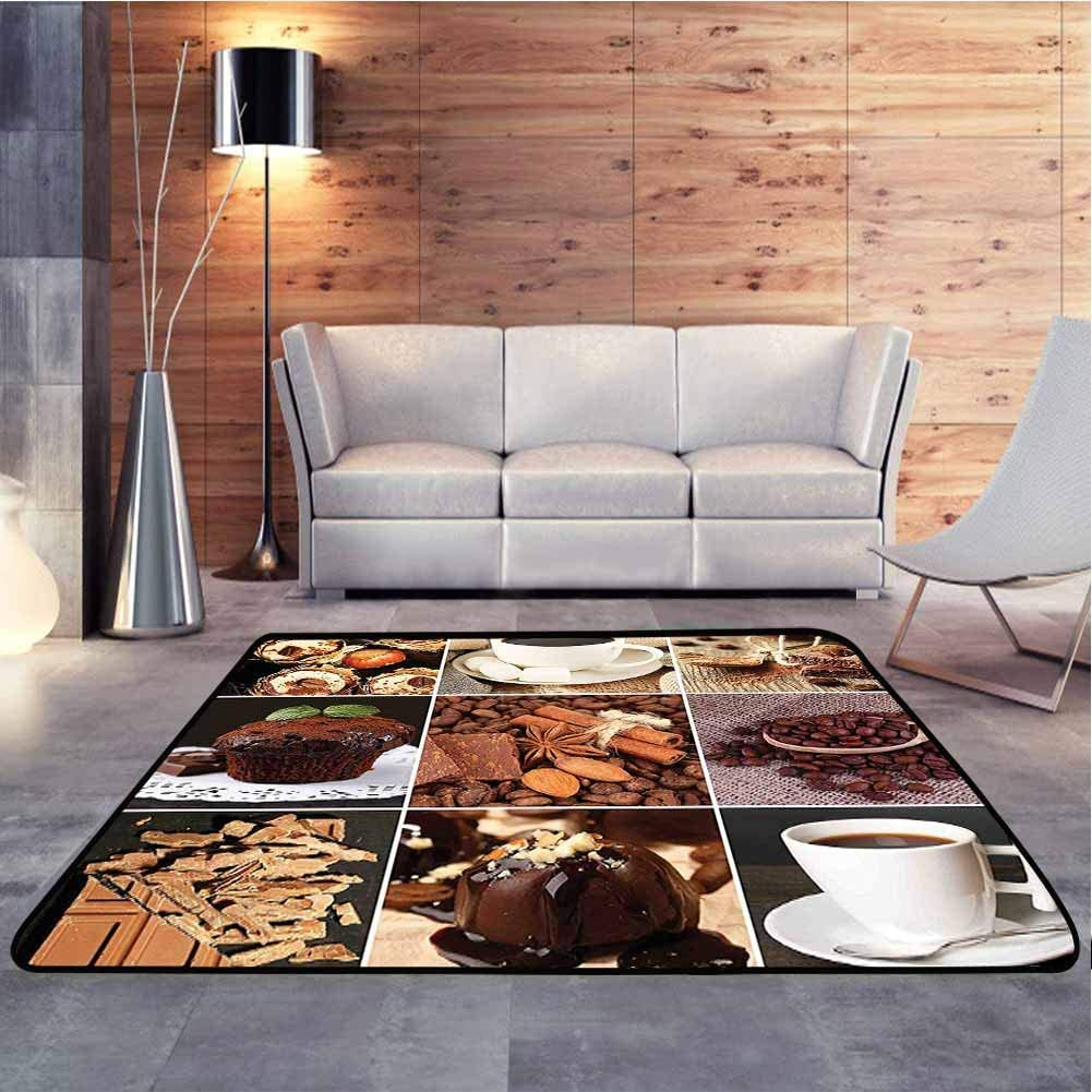 Modern Rugs Mugs Cupcake Chocolate Deserts Nuts Cocoa Tasty Sweets Collage Brown White Dark Green Children's Classroom Seating Rug for Indoor Living Dining Room, 6.5 x 10 Feet