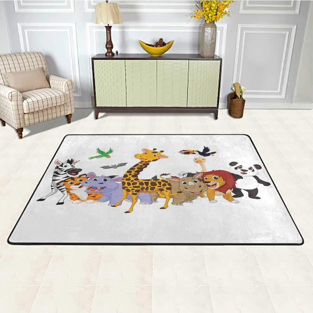 Kids Floor Mat for Office Chair Carpet 6' x 9', Colorful Jungle Animals Hippo Bat Parrot Giraffe Zebra Rhino Panda African Safari Themed Decorations Custom Rug,