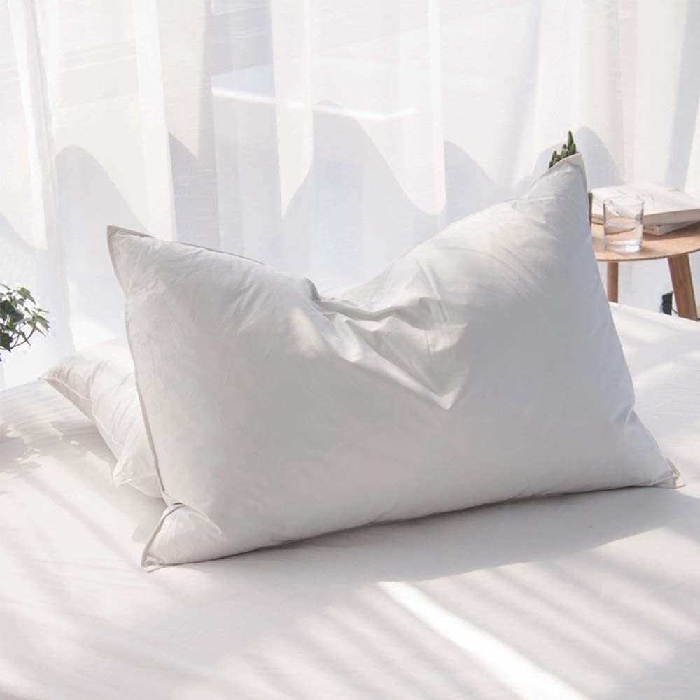 AIKOFUL Luxury Siberian Goose Down Feather Pillows for Sleeping Queen Size Bed Pillows,100% Original Egyptian Cotton 1000 Thread Count (Queen-1 Pillow)
