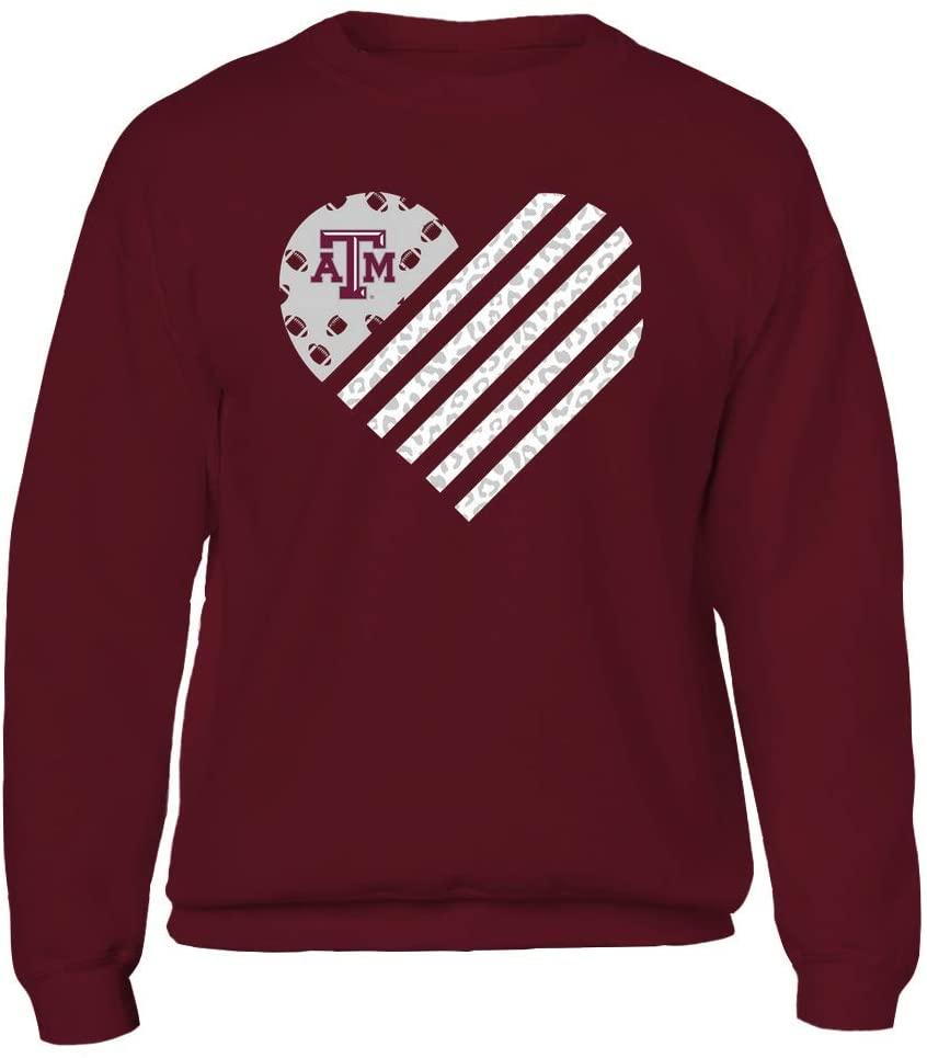 FanPrint Texas A&M Aggies Sweatshirt - Football - Leopard Flag - Heart - Crewneck Sweatshirt/Maroon/L