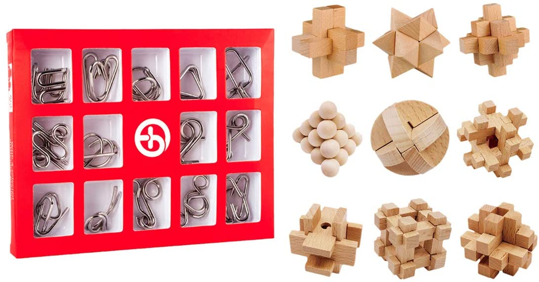 HMANE 24Pcs Wooden and Metal Brain Teaser Puzzle, IQ Test Toy, Puzzle Disentanglement Puzzles Toy Unlock Interlock Game for Kids Adults