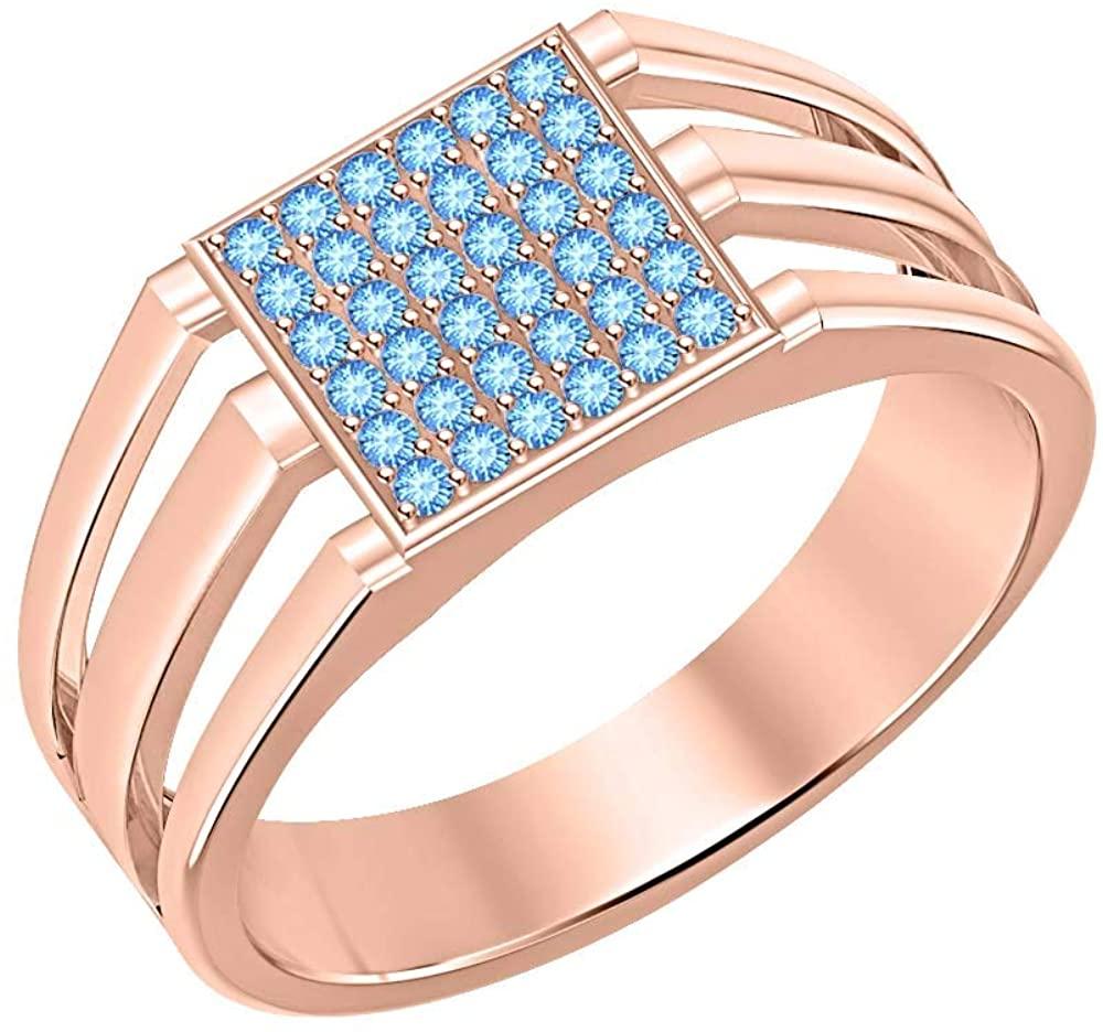 Gold & Diamonds Jewellery 14k Rose Gold Plated Blue Topaz Cluster Art Deco Wedding Band Ring for Men's