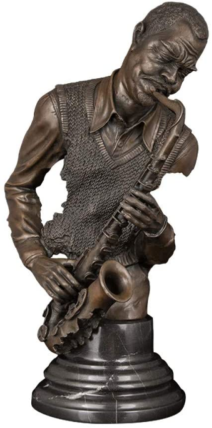 DAJIADS Figurine,Figurines,Statue,Statues,Statuette,Sculptures,Bronze Music Man Playing Saxophone Statue Sculpture for Decoration Craft Ornament Office Home Decor