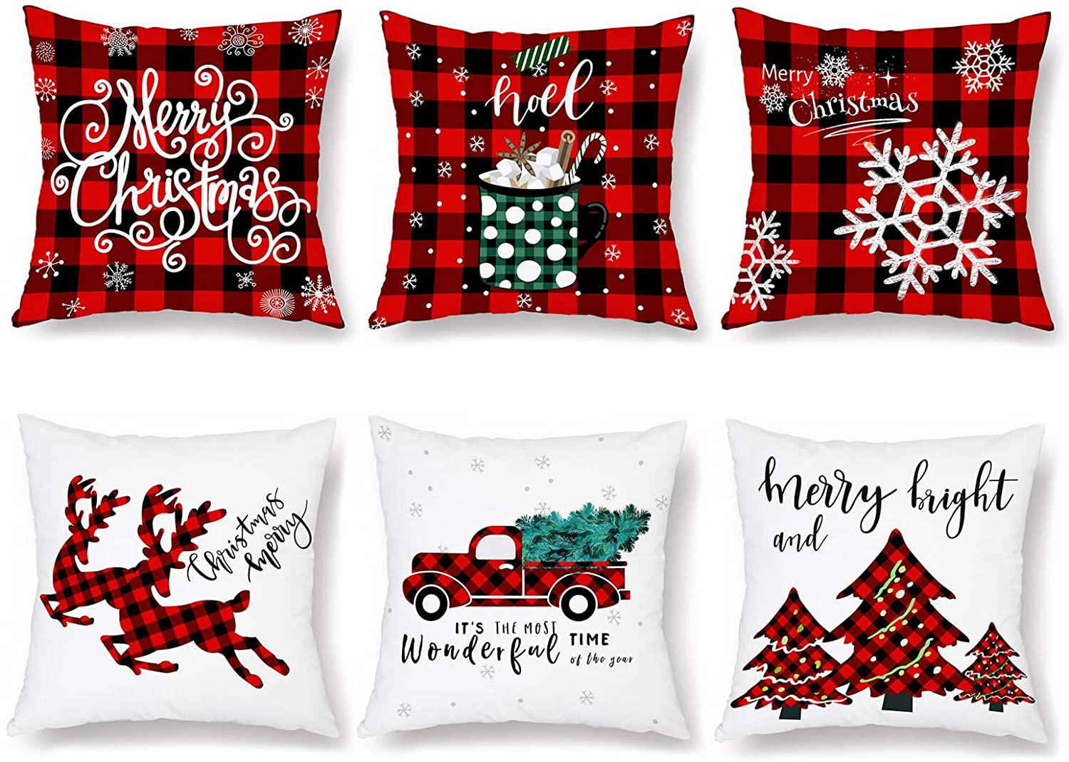 """Jucoan 6 Pack Christmas Throw Pillow Covers, 18"""" x18"""" Decorative Buffalo Plaids Cushion Cover, Digital Print Cotton Linen Squared Pillowcase for Home Sofa Bed Couch Xmas Gifts"""