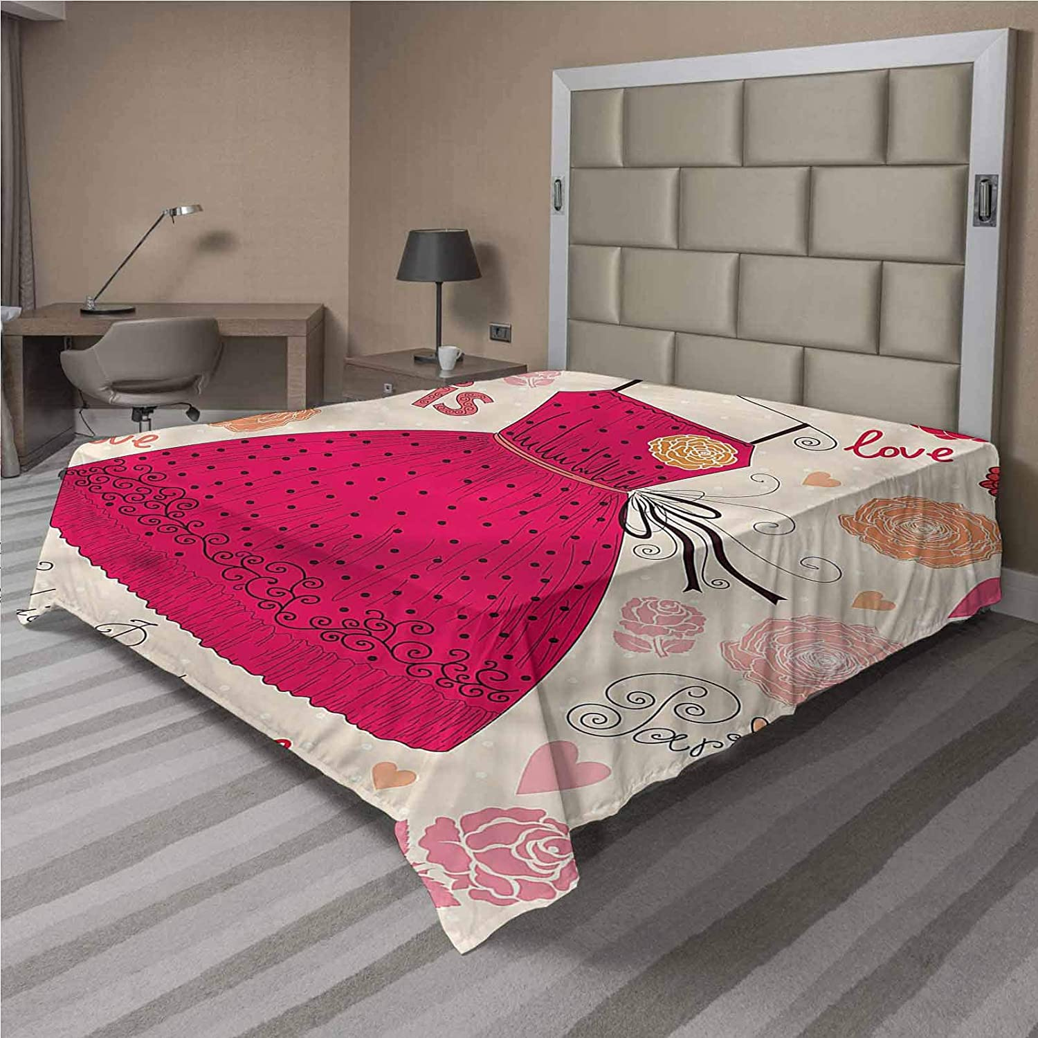 LCGGDB Girls Flat Sheet Only,Retro Fashion Elements Outfit Brushed Microfiber Bedding Top Sheet, Ultra Soft Bed Flat Sheets,1 Piece,Full Size,Fit for Oversize and Extra Height Full Bed