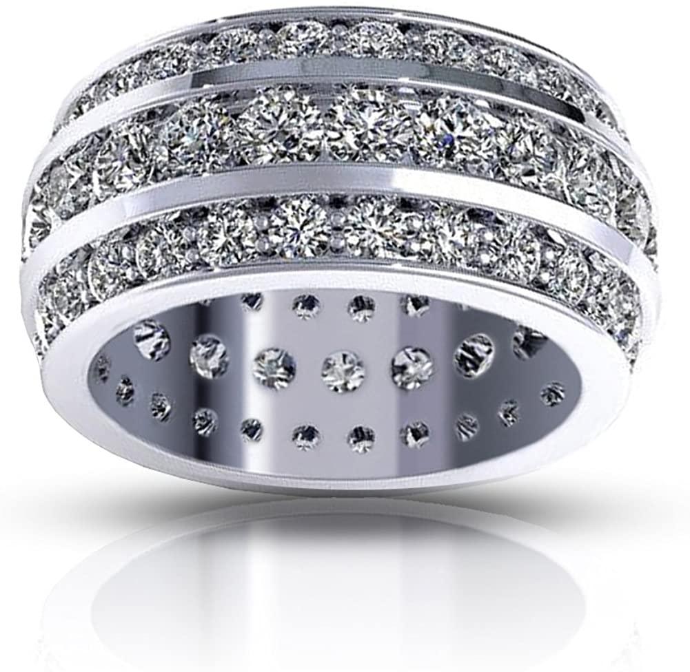 Madina Jewelry 5.00 ct Ladies Three Row Round Cut Diamond Eternity Wedding Band Ring in 18 kt White Gold