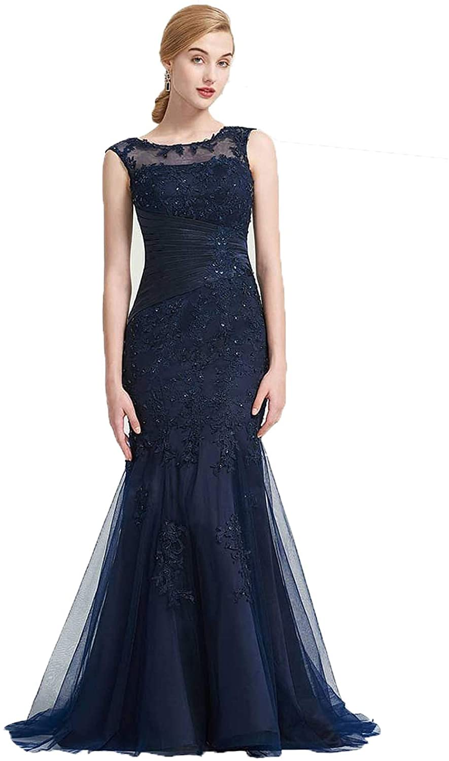 XIMILU Women's Lace Applique Mermaid Evening Dresses Sexy Prom Dresses Round Neck Formal Gowns