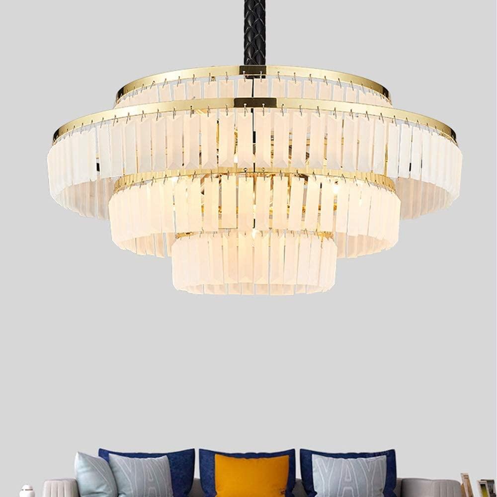 Zhengtufuzhuang European Modern Luxury Villa Hotel Restaurant Living Room Dining Room LED Lamp Warm Light Frosted Crystal Chandelier Diameter 65cm Gold Round Long Life