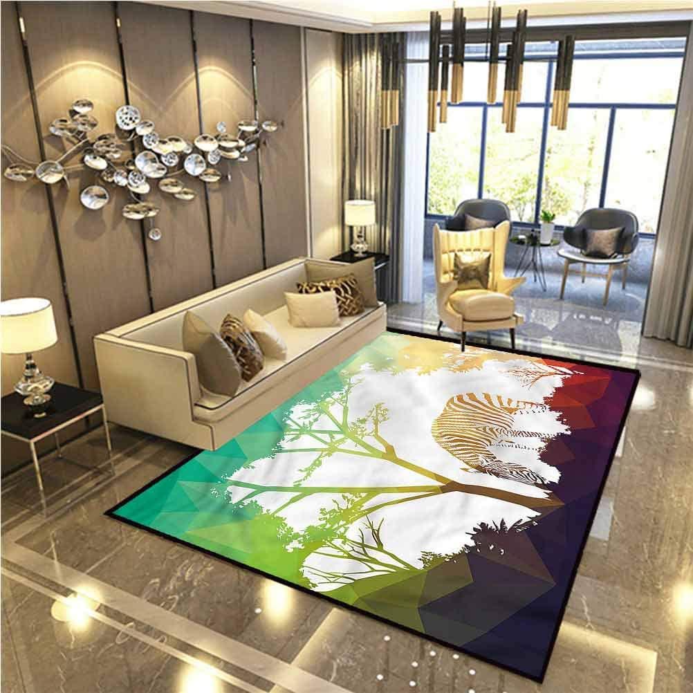 Africa Living Room Rugs Bath Rugs for Bathroom Vivid Safari Zebras for Boys Girls Kids Baby College Dorm Living Room 6.5 x 9.8 Ft