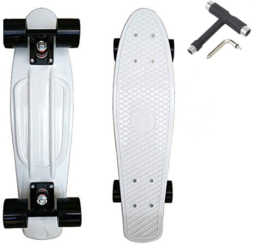 22'' Complete Mini Cruiser Retro Skateboard, Plastic Standard Board Skateboards with High Rebound PU Wheels for Teens Beginners Kids with All-in-One Skate T-Tool